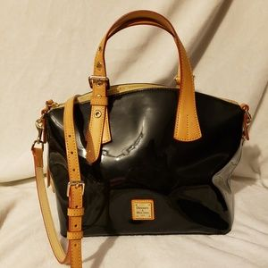 Dooney and Bourke patent leather satchel (black)